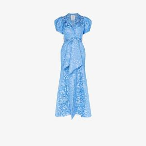 Rosie Assoulin Womens Blue Pouf Sleeve Floral Jacquard Maxi Dress
