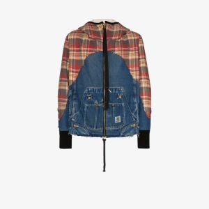 Greg Lauren Mens Multicolour 50/50 Check Denim Zip Hoodie