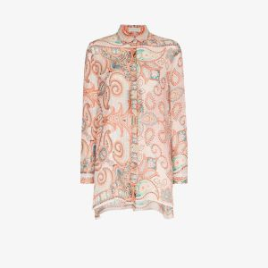Etro Womens Orange Paisley Pattern Silk Shirt