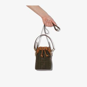 Fendi Womens Green Mon Tresor Mini Bucket Bag