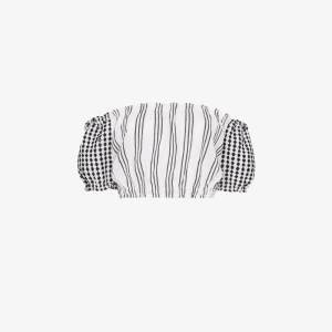 Lemlem Womens White Tigist Striped Off-the-shoulder Crop Top