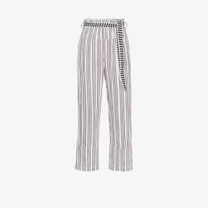 Lemlem Womens White Tigist Pie Striped Belted Trousers