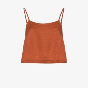 Bondi Born Womens Orange Flared Cropped Linen Camisole
