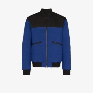 Z Zegna Mens Blue Reversible Quilted Bomber Jacket