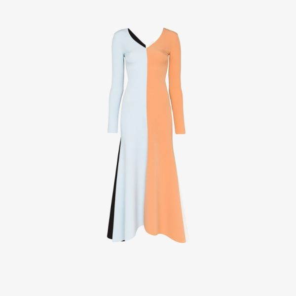 A.w.a.k.e. Mode Womens Blue Contrast Panel Flared Maxi Dress