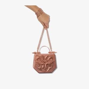 Okhtein Womens Rose Gold Hexagon Metallic Bag