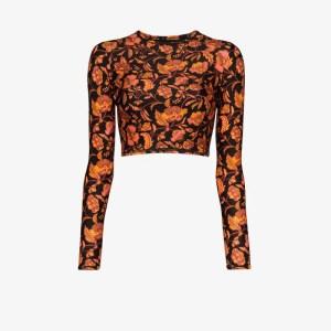 Matteau Womens Orange Hibiscus Print Rashguard