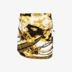 Versace Womens Black Baroque Print Gathered Mini Skirt