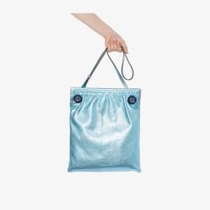 Ganni Womens Blue Metallic Leather Tote Bag