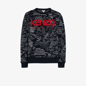 Kenzo Mens Black Logo Embroidery Sweatshirt