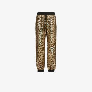 Gucci Womens Black Rhombus Logo Metallic Track Pants