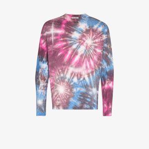 Our Legacy Mens Pink Firework Tie-dye Long Sleeve T-shirt
