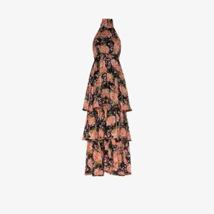 Bytimo Womens Black Halterneck Floral Print Maxi Dress