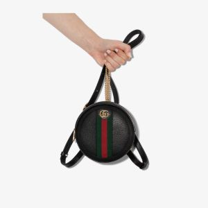 Gucci Womens Black Ophida Mini Leather Backpack