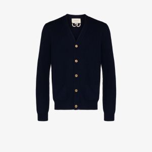 Gucci Mens Blue Embroidered Gg Cashmere Cardigan