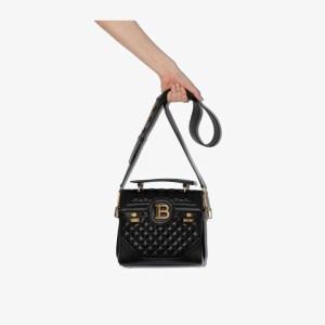 Balmain Womens Black B-buzz 23 Quilted Lambskin Shoulder Bag