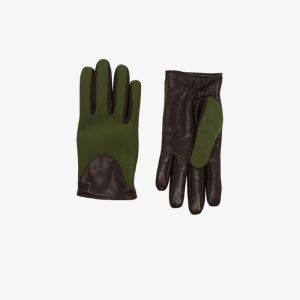 Kagawa Gloves Mens Green And Black Leather And Neoprene Gloves