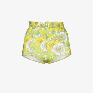 Dodo Bar Or Womens Green Pamela Floral High Waist Bikini Bottoms