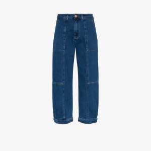 See By Chloé Womens Blue Patch Cropped Jeans