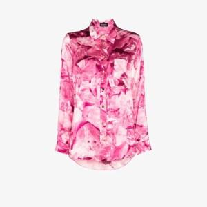 Märta Larsson Womens Pink Smith Floral Silk Shirt