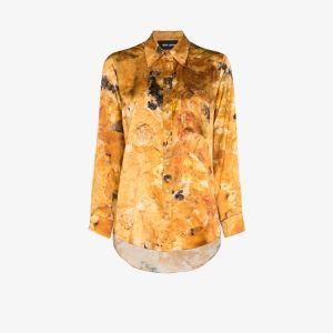 Märta Larsson Womens Yellow Smith Silk Boyfriend Shirt