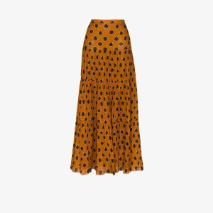 Johanna Ortiz Womens Brown Indigenous Printed Tiered Maxi Skirt