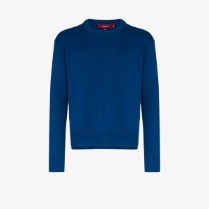 Sies Marjan Mens Blue Split Sleeve Wool Sweater