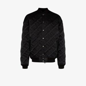Balenciaga Mens Black Quilted Embroidered Logo Bomber Jacket