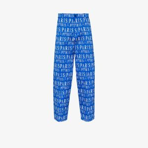 Balenciaga Mens Blue Paris Print Cropped Trousers