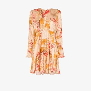 Bytimo Womens Orange Floral Gathered Pleated Mini Dress