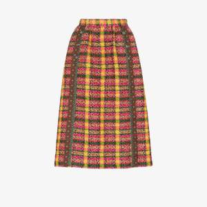 Gucci Womens Brown High Waist Tweed Midi Skirt