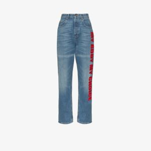 Gucci Womens Blue My Body My Choice Straight Leg Jeans