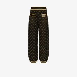 Gucci Womens Black Gg Logo Metallic Wool Blend Track Pants