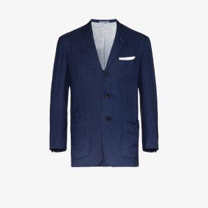 Kiton Mens Blue Single-breasted Cotton Blazer