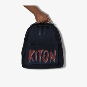 Kiton Mens Blue Logo Leather Backpack