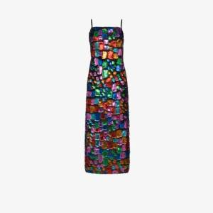 Taller Marmo Womens Blue Mahogany Metallic Patch Maxi Dress