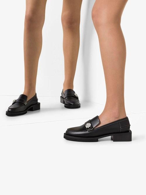 GANNI crystal-embellished leather loafers