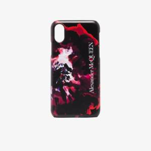 Alexander Mcqueen Mens Black Painterly Rose Iphone Xs Css Leather Case