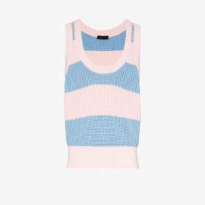 Prada Mens Blue Striped Cotton Vest Top