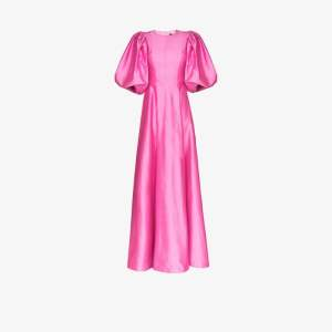 Rasario Womens Pink Pouf Sleeve Silk Gown