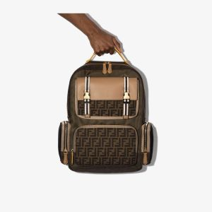 Fendi Mens Brown Logo Suede Canvas Backpack