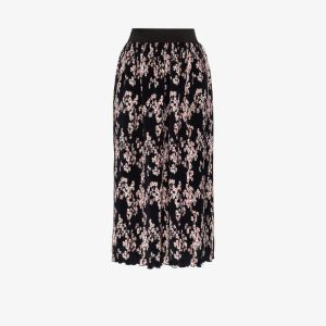 Paco Rabanne Womens Black Pleated Floral Midi Skirt