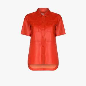 Stand Studio Womens Red Danna Faux Nappa Leather Shirt