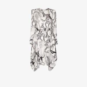 Stella Mccartney Womens White Horse Print Belted Silk Dress