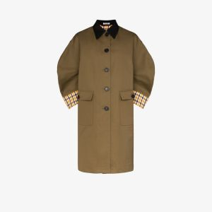 Miu Miu Womens Green Contrast Check Cotton Trench Coat