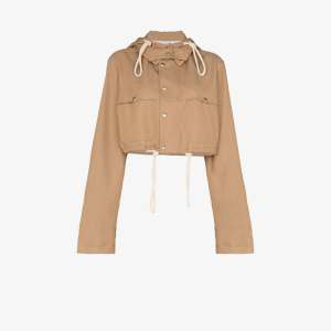 Plan C Womens Neutrals Hooded Cropped Shirt Jacket