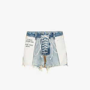 Unravel Project Womens Blue Distressed Reverse Lace-up Denim Shorts