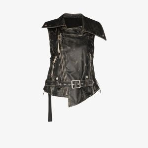 Unravel Project Womens Black Distressed Leather Biker Gilet