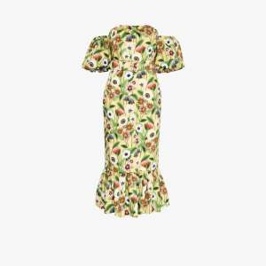 Borgo De Nor Womens Yellow Aleila Off-the-shoulder Floral Cotton Midi Dress