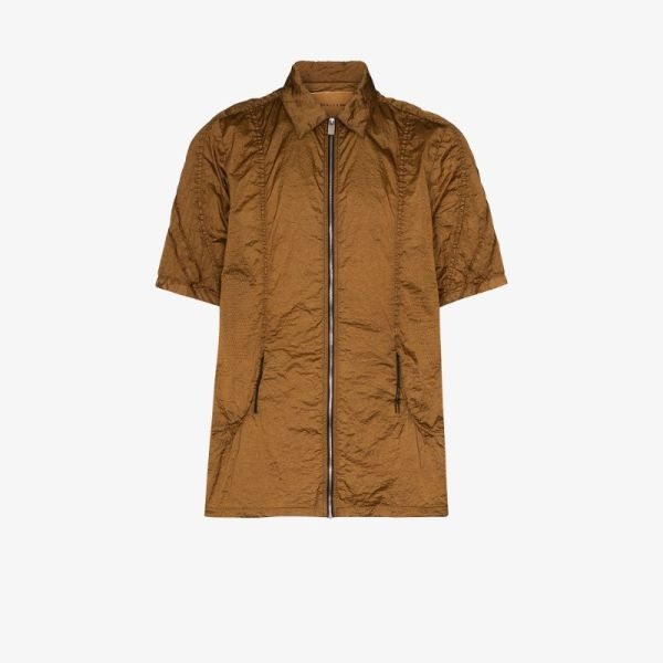 1017 Alyx 9sm Mens Brown Zip-up Shirt